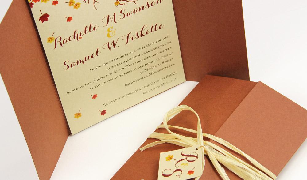 Autumn theme gate fold invitation with Sepia and Wheat colored papers and rafia