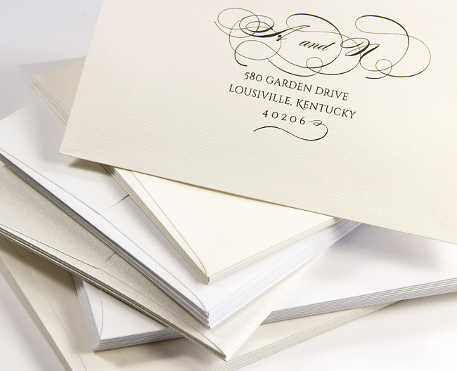 Odeon felt finish envelopes in neutral color palette of Odeon Gala and Vintage from LCIPaper.com