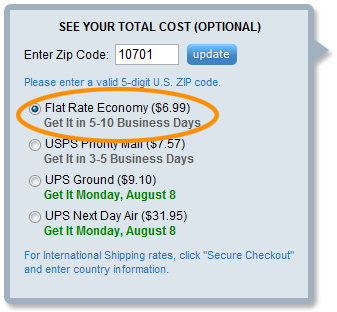 Flat Rate Economy shipping options