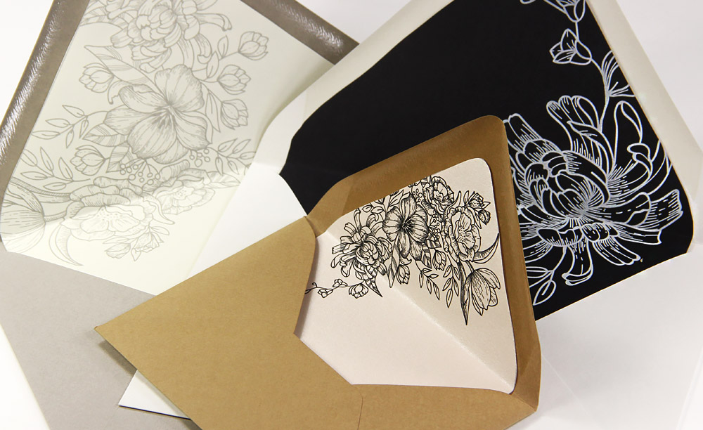 Floral lined euro flap envelopes. Download free euro flap liner outline templates, print on 8 1/2 x 11 paper, cut. Step by step instructions and templates at LCIPaper.com