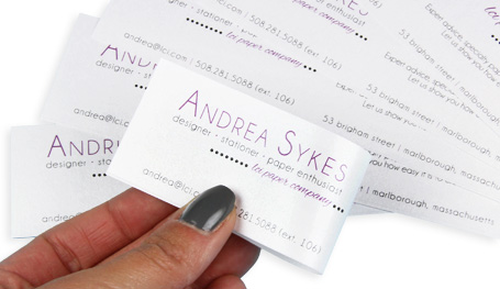 fold business card strips in half