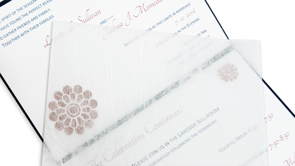 Folding wedding invitation with tissue paper inside