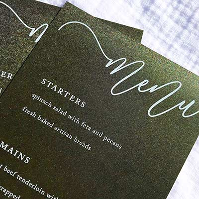 Colors Metallic Forest Green menu card printed in white by LCI Paper