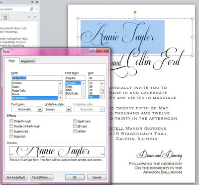 edit text on elegant calligraphy wedding invitation in Word