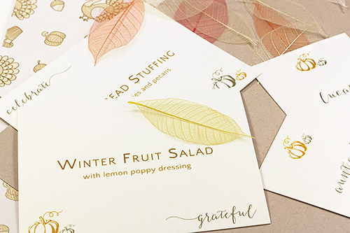 Download free printbale thanksgiving place cards and food label cards from LCIPaper.com
