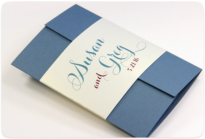 Gatefold card decorated and held closed with personalized belly band