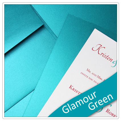 invitation made with so silk glamour green paper