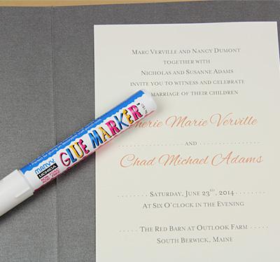 pocket invitation glued with glue marker