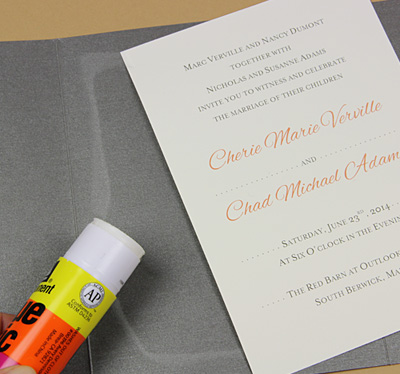 pocket invitation glued with glue stick