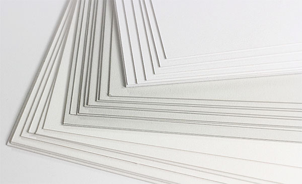 Gmund Cotton 222lb Double Thick Card Stock in Max White, Wedding White, and New Grey. Printing? We recommend ordering a sample before purchase.
