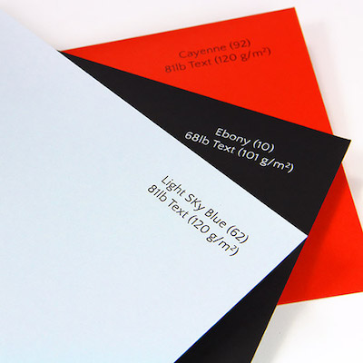 Gmund Color System Envelope Swatchbook - each envelope printed with color name and number, paper weight