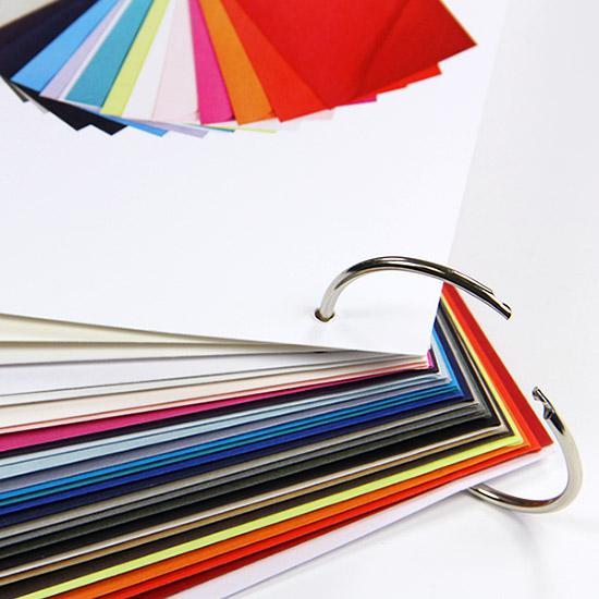 Gmund Color envelope swatchbook bound on a ring for easy addition and removal of envelopes
