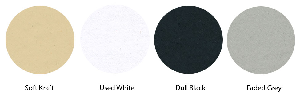 Gmund Heidi available in 4 natural colors: Used White, Soft Kraft, Dull Black, Faded Grey.