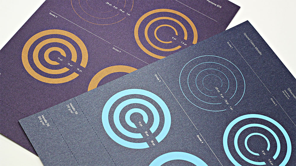 Colors pop against the shine of Gmund Colors Metallic when silkscreen printed.