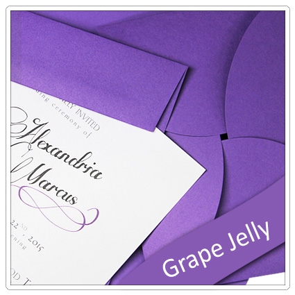 invitation made with pop tone grape jelly paper