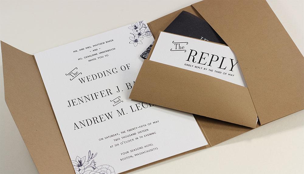Grocer Kraft pocket envelopes make for a rustic wedding or party invitation. Go to LCIPaper.com for more information.