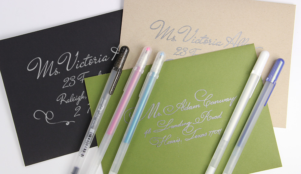 envelopes hand addressed with gelly pens
