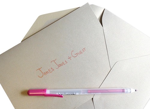 pocket invitation with hand written address