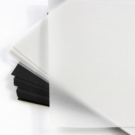 Translucent vellum cardstock in white & black from LCI Paper. Thick vellum weight great for invitation cards and vellum gatefolds and wraps.