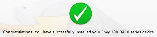 HP Envy 100 mac setup successful
