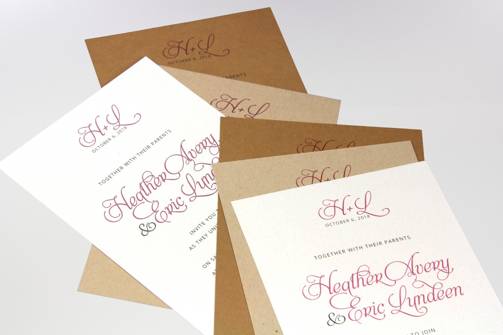 kraft paper invitations printed with inkjet and laser