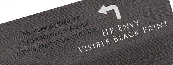 inkjet printer results on brown bubinga wood grain envelopes
