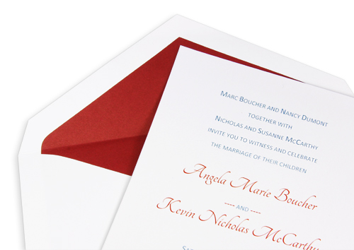 invitation with matching lined envelope