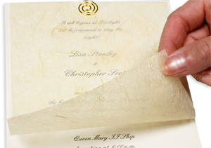 invitation with gold tissue overlay