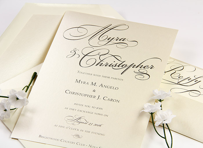 Stardream opal invitation with matching opal lined envelope