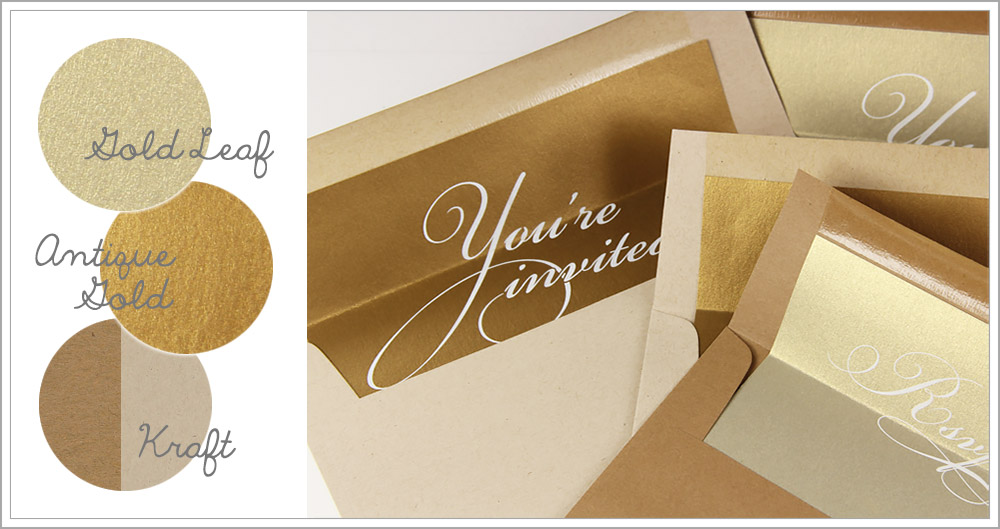 Kraft envelopes lined with custom printed gold liners