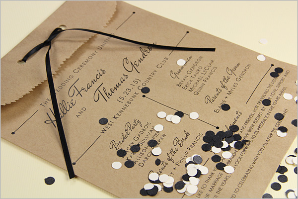 wedding program printed on paper bag and filled with confetti