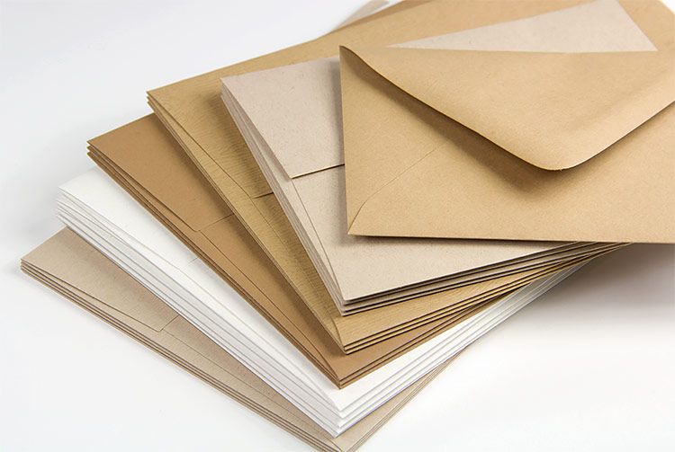Kraft invitation envelopes in a variety of sizes, shades, finishes. Order blank or printed from LCIPaper.com