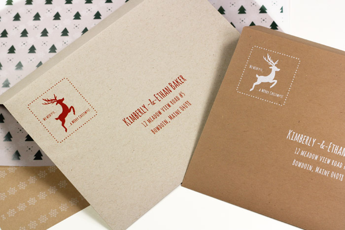 Kraft brown envelopes for holiday cards custom printed by LCIPaper.com