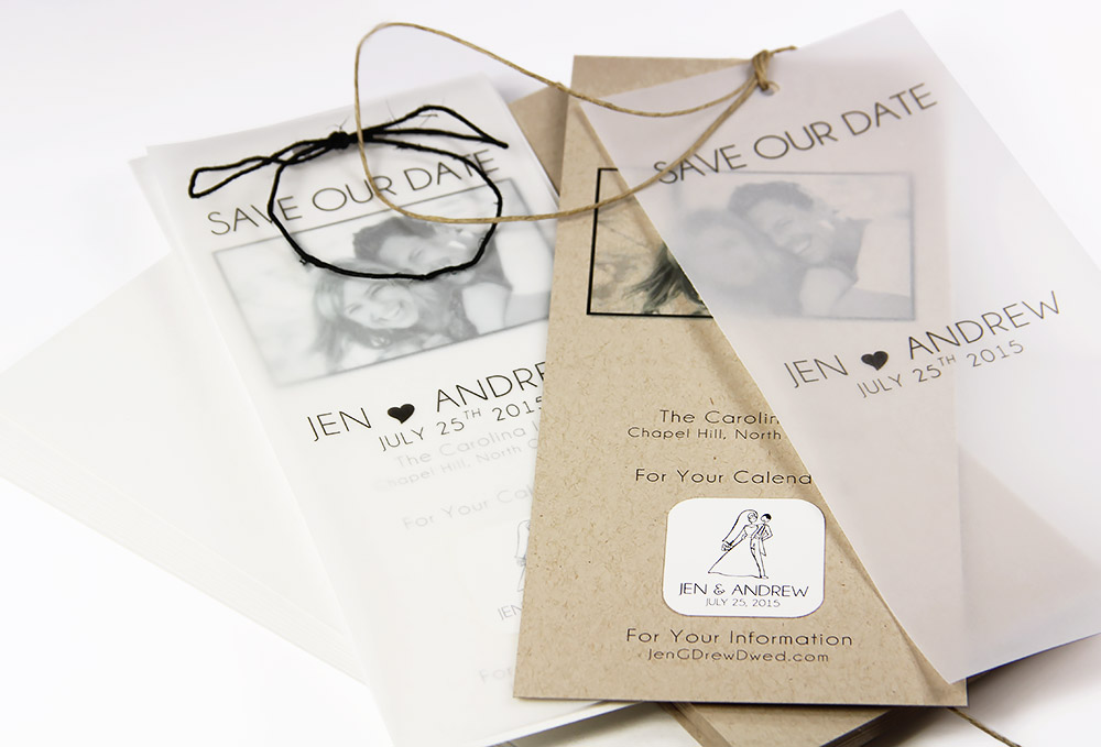 Punch holes in save the date card and vellum