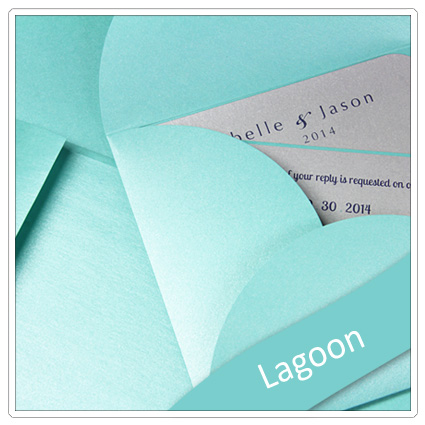invitation made with stardream lagoon paper