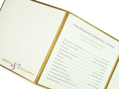 layered metallic gold z-fold wedding program