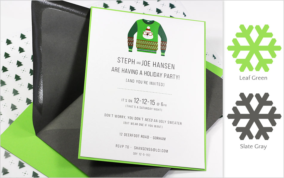 Leaf green and slate gray holiday party invitation made with Gmund Color System matte finish paper and envelopes - offbeat holiday color combinations