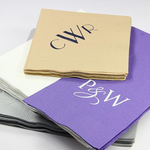 LCI Paper custom monogram & initial napkins.