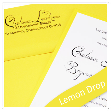 invitation made with pop tone lemon drop paper