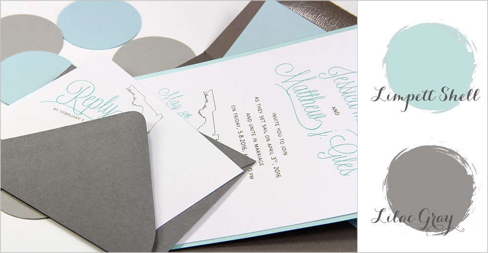 Limpet Shell and Gray Key West destination wedding invitation - Spring 2016 top wedding colors