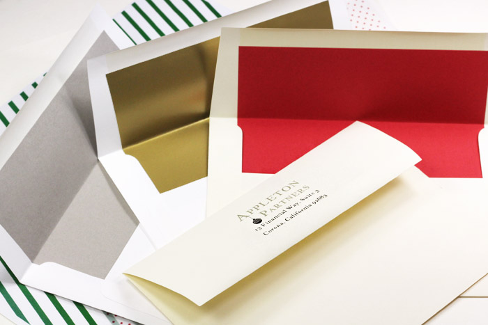 Economical bulk pack lined envelopes for corporate holiday cards. Order blank or printed from LCIPaper.com