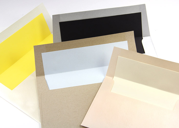 Pre-cut envelope liner paper in array of colorful matte text papers