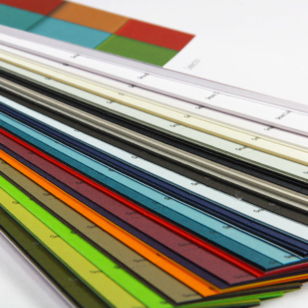 Luxury color paper system of 48 colors, 4 finishes designed to mix and match