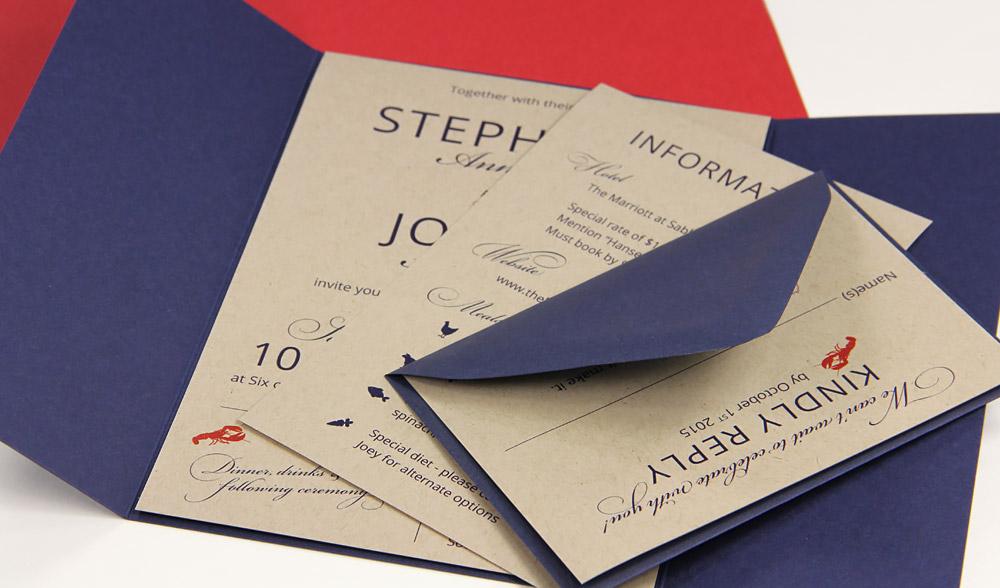 Maine theme gate fold invitation using navy gate fold and kraft paper class=