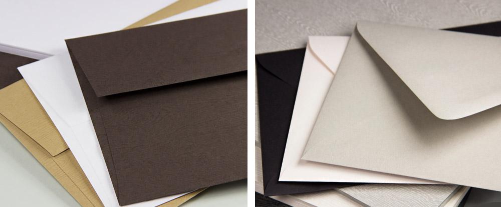 Woodgrain textured invitation envelopes to match Savanna wood grain card stock
