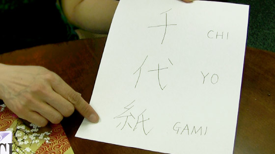 Chiyogami written in Japanese symbols