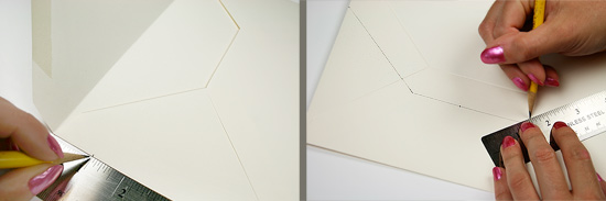 the first step in creating a DIY envelope liner template is to determine how far into the envelope the liner will go and mark to create the base