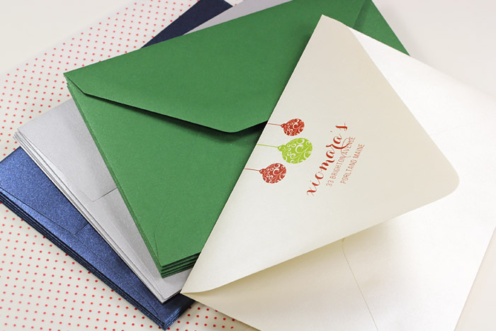 Bulk pack metallic envelopes for corporate holiday cards printed by LCIPaper.com
