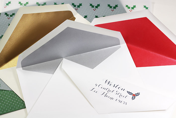 Metallic lined envelopes for holiday cards custom printed by LCIPaper.com