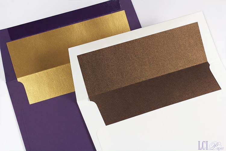 Matte finish invitation envelopes lined with Stardream metallic paper